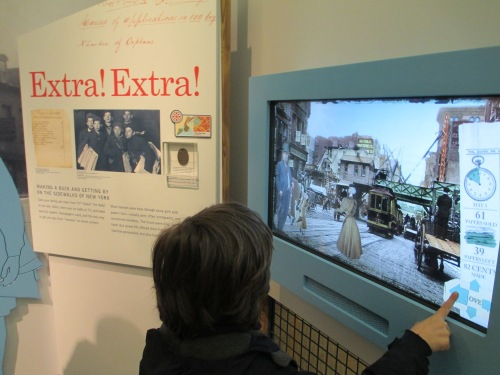 Eli plays interactive game at Children's History Museum