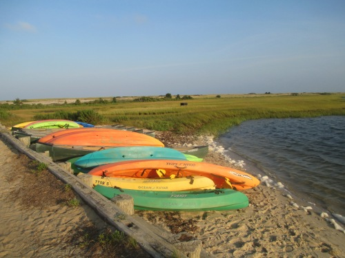 Kayaks parked at Chappaquiddick beach, Martha's Vineyard on carpoolcandy.com