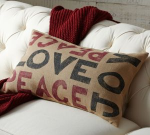 Pottery Barn peace love joy pillow on carpoolcandy.com