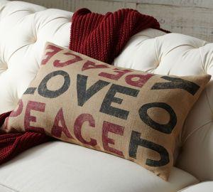 Pottery Barn peace love joy pillow on carpoolcandy.com