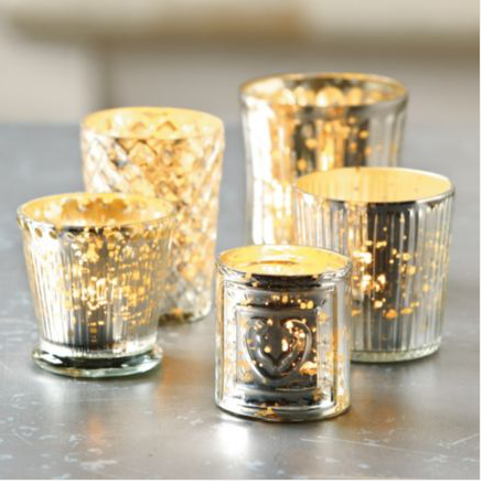 Mercury glass votives from BallardDesigns.cm on carpoolcandy.com