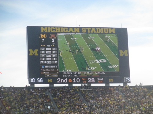 Michigan Stadium scoreboard on carpoolcandy
