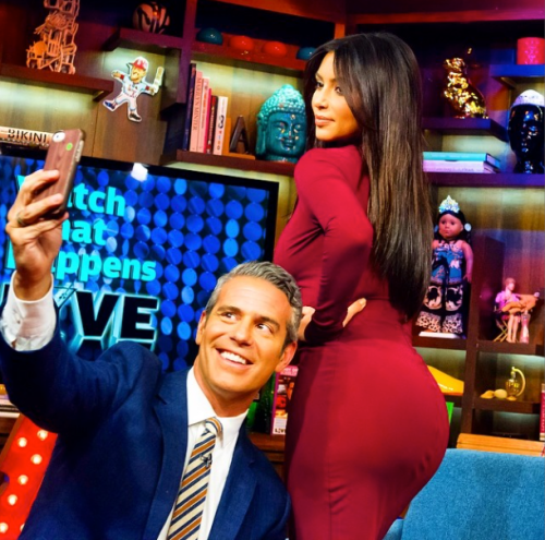 Andy Cohen and Kim Kardashian selfie from Instagram