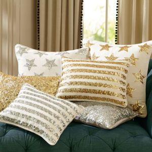 pottery barn gold star glitter pillows on carpoolcandy.com