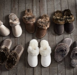 Restoration Hardware faux fur slippers on carpoolcandy.com