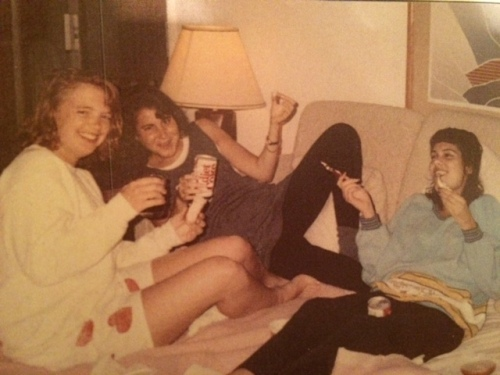 Giggling with my girls circa 1985