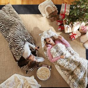 pb kids faux fur sleeping bag on carpoolcandy.com