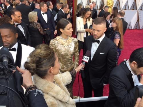 Justin Timberlake Jessica Biel red carpet Oscars 2017